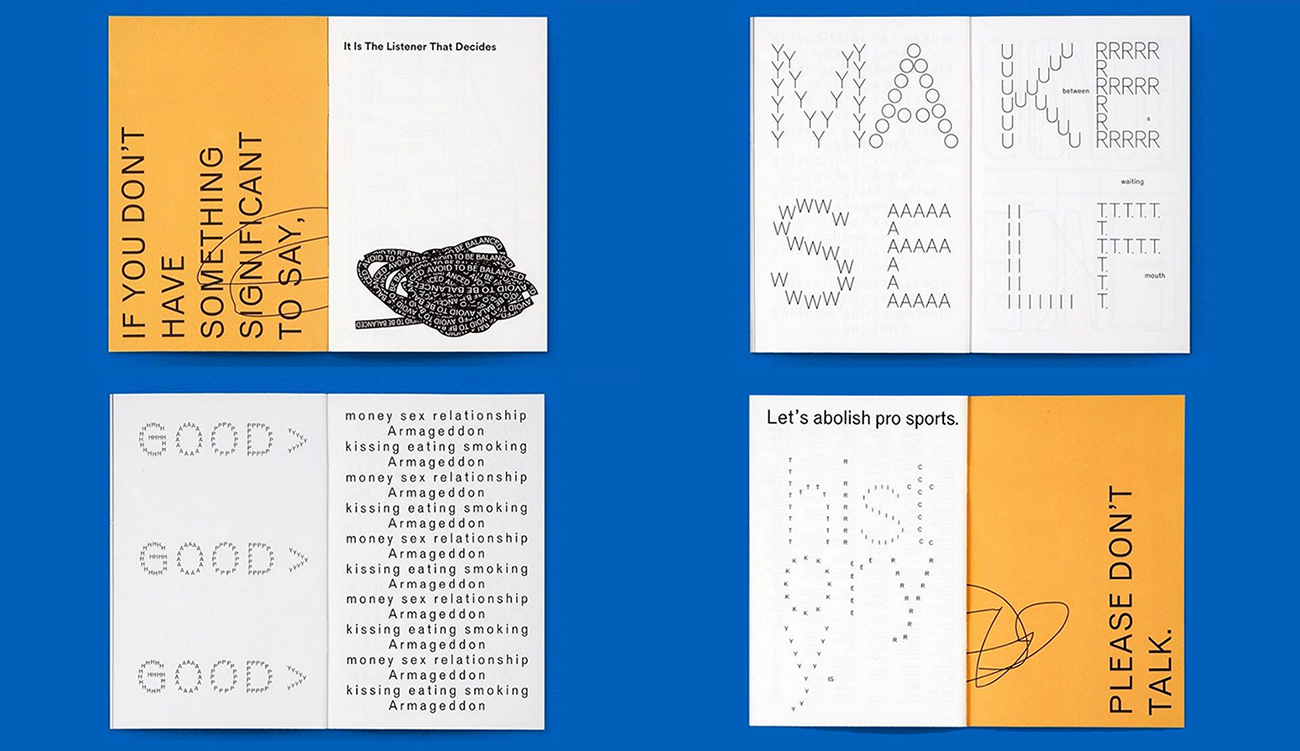 A zine of typographic and experimental works of mine published by Draw Down launching at Printed Matter's New York Art Book Fair, photos by Draw Down Books