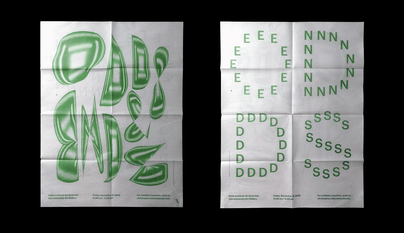 A double-sided poster for ODDS AND ENDS, Yale University Art Gallery Art Book Fair