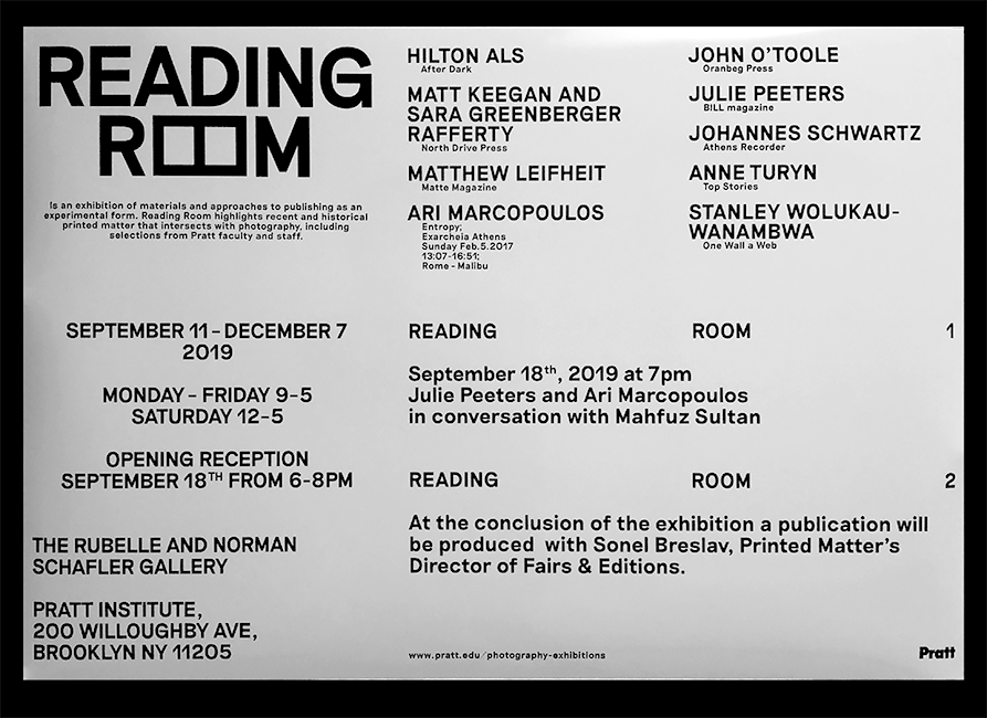 Identity design for Reading Room by Pratt institute photography dept.